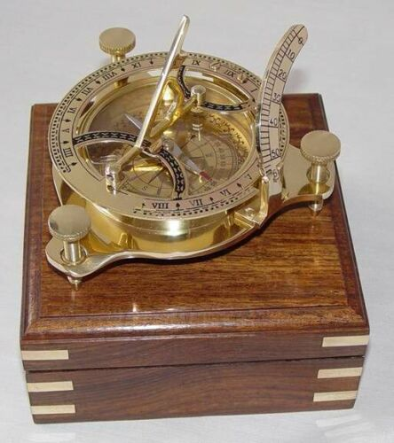 Vintage Brass Sundial Compass 4 inch with Wood Box Replica, Marine Compass in Antiques, Maritime, Compasses | eBay