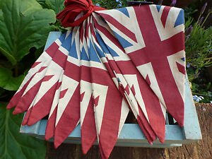 Vintage-British-Union-Jack-Textile-Flag-Cloth-Bunting-Olympics-Retro-Banner-5M