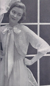 Vintage Crochet Bolero Shortie Cropped Jacket Pattern