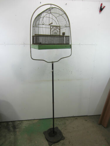 "Vintage Crown Metal Bird Cage w/ Stand 64""h, 14""x14""x9.5""cage in Pet Supplies, Bird Supplies, Cages 