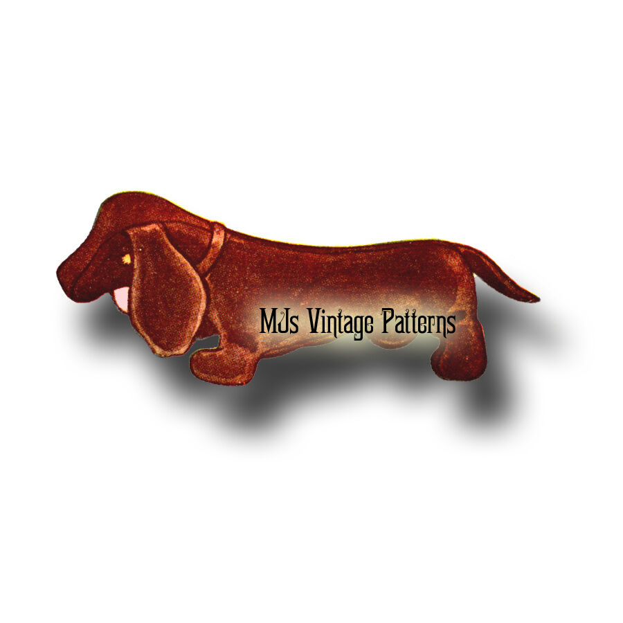 Vintage Dachshund Stuffed Animal Toy Pattern Weiner Dog Hot Dog