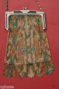 Vintage-Dresden-Mesh-Purse-Enamel-Frame-Autumn-Color