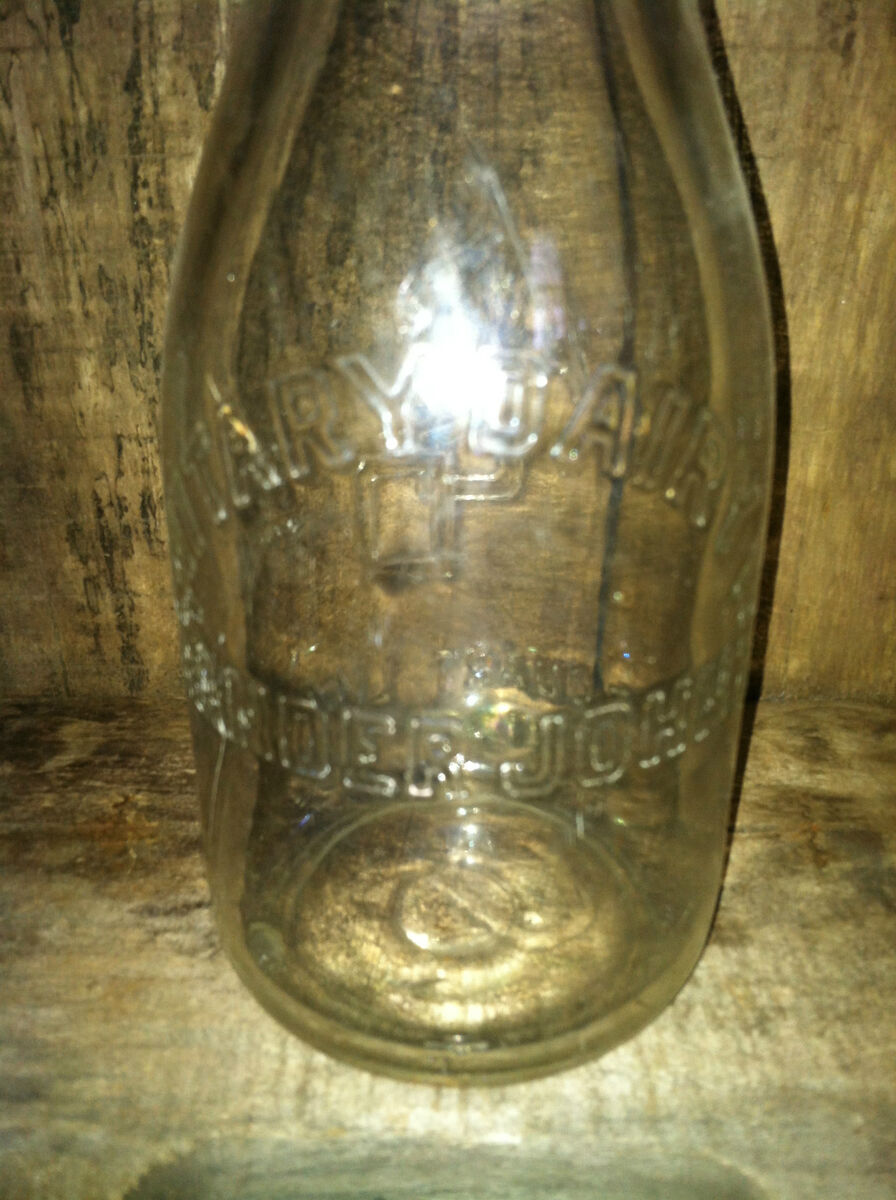 Vintage Embossed Quart Milk Bottle Ander John Sanitary Dairy ASD Erie