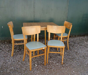 Vintage Formica Dining Table & 4 Chairs Retro Small Kitchen Diner Set
