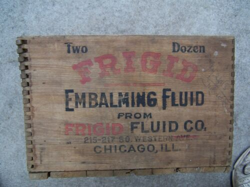 Vintage Frigid Jr Embalming Fluid Chicago IL wood box crate jointed corners old in Everything Else, Funeral & Cemetery, Mortuary Supplies | eBay