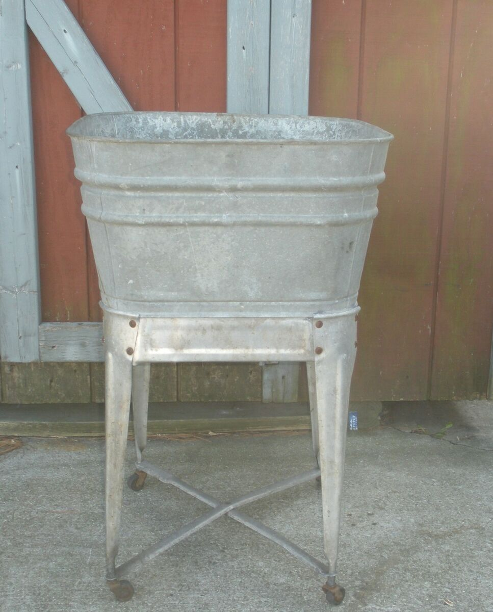 Galvanized Utility Sink : Vintage Galvanized Laundry Wash Tub Basin w Wheels Garden or Party on ...