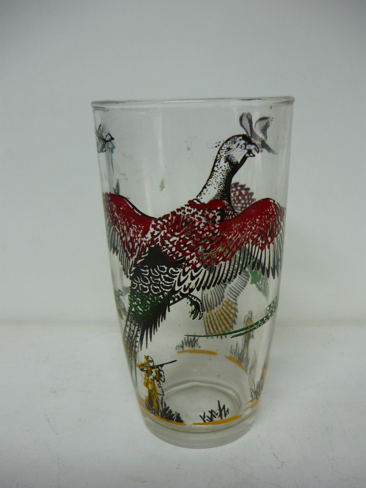 Vintage HAZEL ATLAS PHEASANT HUNTING GLASS BEER BAR DRINKING