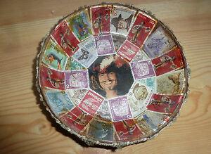 Vintage-KULT-60er-Jahre-Briefmarken-Teller-Schale-Filz-Spitze-Original-selten-ra