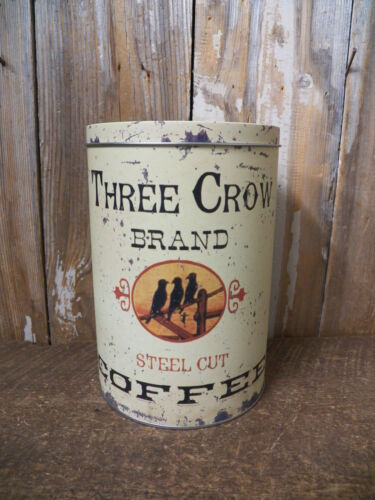 Vintage Look Tin Food Safe THREE CROW BRAND COFFEE Tin Canister Container Can in Antiques, Primitives | eBay