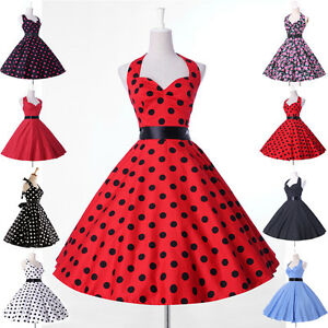 vintage mode damen pin up petticoat rockabilly kleid 50er 60er neu s m l xl ebay. Black Bedroom Furniture Sets. Home Design Ideas