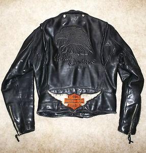 vintage old school harley eagle leather motorcycle jacket. Black Bedroom Furniture Sets. Home Design Ideas