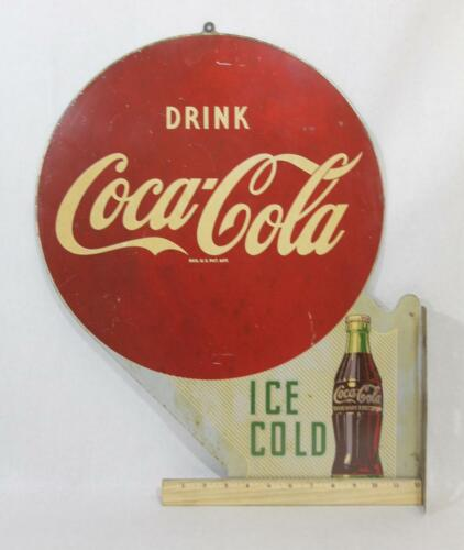Vintage Original 1951 *Coca-Cola* 2-Sided Enameled Flange Button & Arrow Sign in Collectibles, Advertising, Soda | eBay