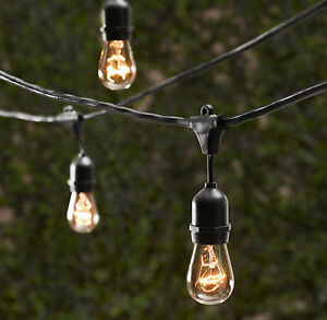 15 bulbs vintage patio string lights black cord clear glass edison. Black Bedroom Furniture Sets. Home Design Ideas