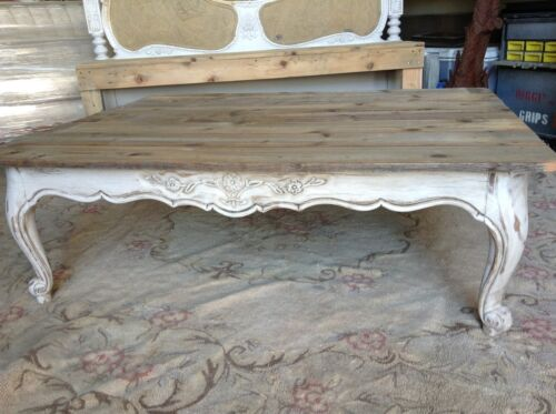 Vintage Reclaimed Natural Wood Weather Grey Coffee Table Chic and Shabby dining in Antiques, Furniture, Tables | eBay