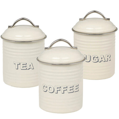 Cream Kitchen Storage Jars: Vintage/Retro Cream Tea Coffee Sugar Kitchen Storage