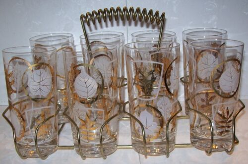 Vintage Retro Set of 8 White / Gold Drinking Glasses w/ Brass Bar Rack / Caddy in Collectibles, Barware, Glasses, Cups, Mugs | eBay
