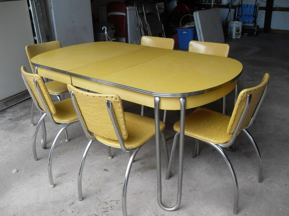 Image of: Vintage Retro Yellow Formica Chrome Kitchen Table 6 Chairs On Popscreen