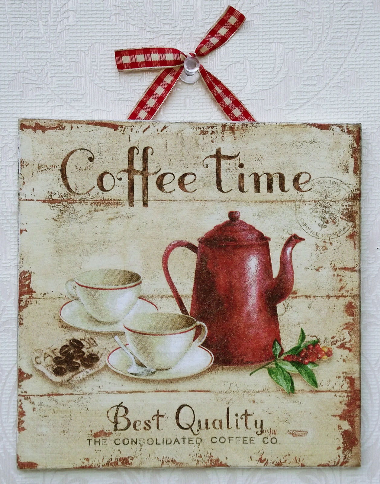 Country shabby chic coffee time picture plaque for Tea and coffee wall art