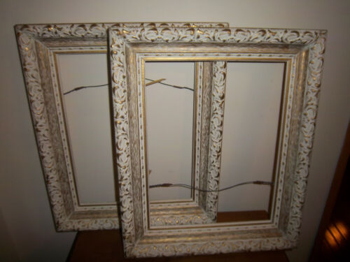 Vintage Shabby Cottage Paris Apt Chic Gold White Frames Pair (2) ORIGINAL in Collectibles, Decorative Collectibles, Frames | eBay
