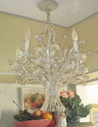 Vintage Shabby Cream FLORAL TOLE 5-Light Chic Chandelier/Ceiling Light Fixture in Antiques, Architectural & Garden, Chandeliers, Fixtures, Sconces | eBay