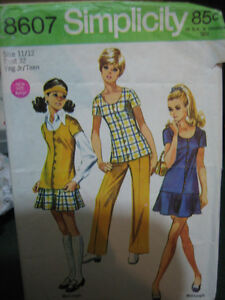 1969 Teen Pattern Mod Separates Flared Mini Skirt Top Pants Size 15 16 35 | ...