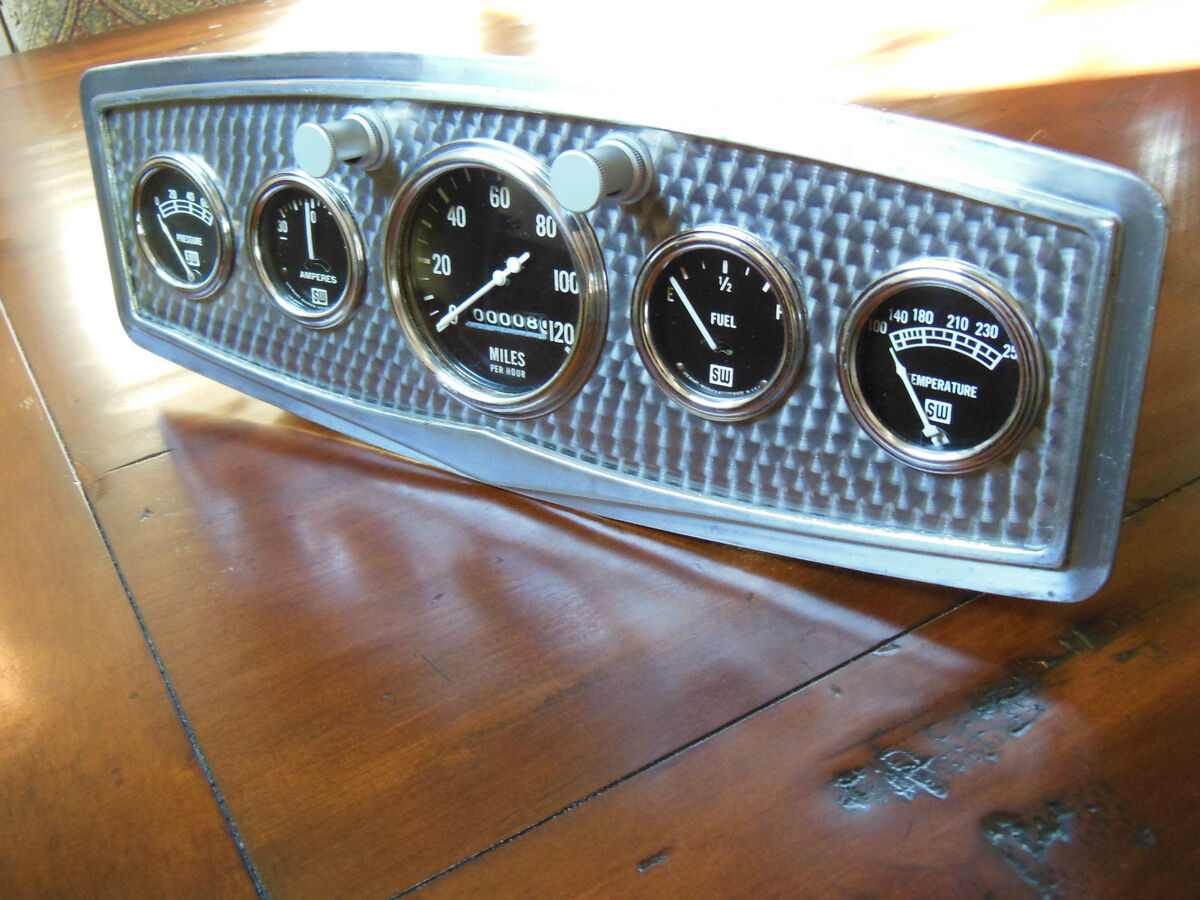 Vintage Stewart Warner 5 Gauge Panel Instrument Cluster SW Speedometer Hot Rod