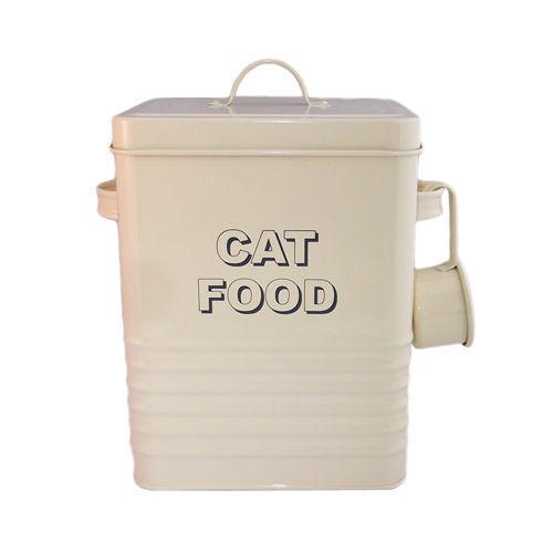 vintage style large cream cat food tin retro catfood pet storage container ebay. Black Bedroom Furniture Sets. Home Design Ideas