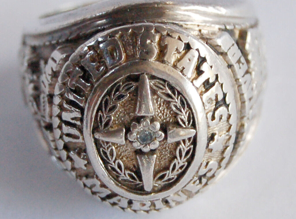 Vintage USMC Marine Corps 1775 1945 Sterling Silver Ring w Small