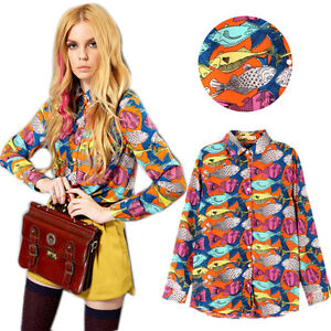Vintage womens fish print chiffon button down blouse tops for Womens fishing shorts