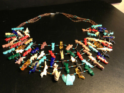 Vintage Zuni 5 Strand Tiered Fetish Necklace Sterling 101 Carved Fetish Stones in Collectibles, Cultures & Ethnicities, Native American: US | eBay