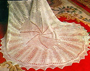 Vintage knitting pattern-lace baby heirloom christening shawl- free UK