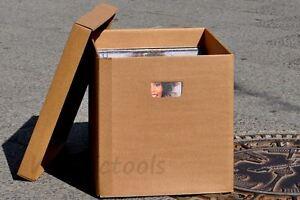 vinyl schallplatten pappbox aus brauner pappe mit deckel griff f r 100 platten. Black Bedroom Furniture Sets. Home Design Ideas