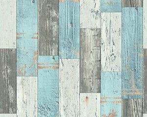 vinyl tapete as faro 96246 1 holz optik holzbretter landhaus braun grau blau ebay. Black Bedroom Furniture Sets. Home Design Ideas