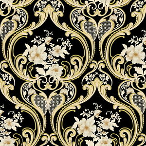 Vinyl tapete barock retro schwarz gold wei fujia decoration 68625 - Tapete schwarz gold ...