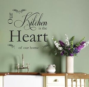Vinyl wall art sticker quote kitchen heart decal vinyl v2 for Ebay dining room wall art