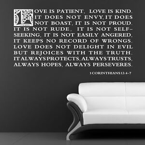 vinyl wall art stickers large bible quote love 1. Black Bedroom Furniture Sets. Home Design Ideas