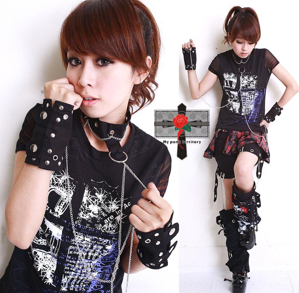 Visual Kei Rock SLAVE Goth Punk Cosplay Cuff Choker Set