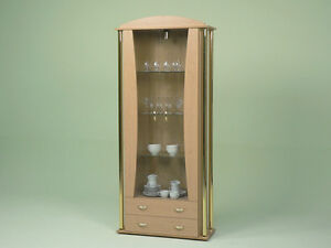 vitrine glasvitrine buche mit eleganter s ulenoptik ebay. Black Bedroom Furniture Sets. Home Design Ideas