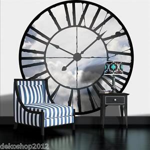 vlies fototapete tapete fototapeten tapeten wandbild bilder uhr himmel 629 ve z1 ebay. Black Bedroom Furniture Sets. Home Design Ideas