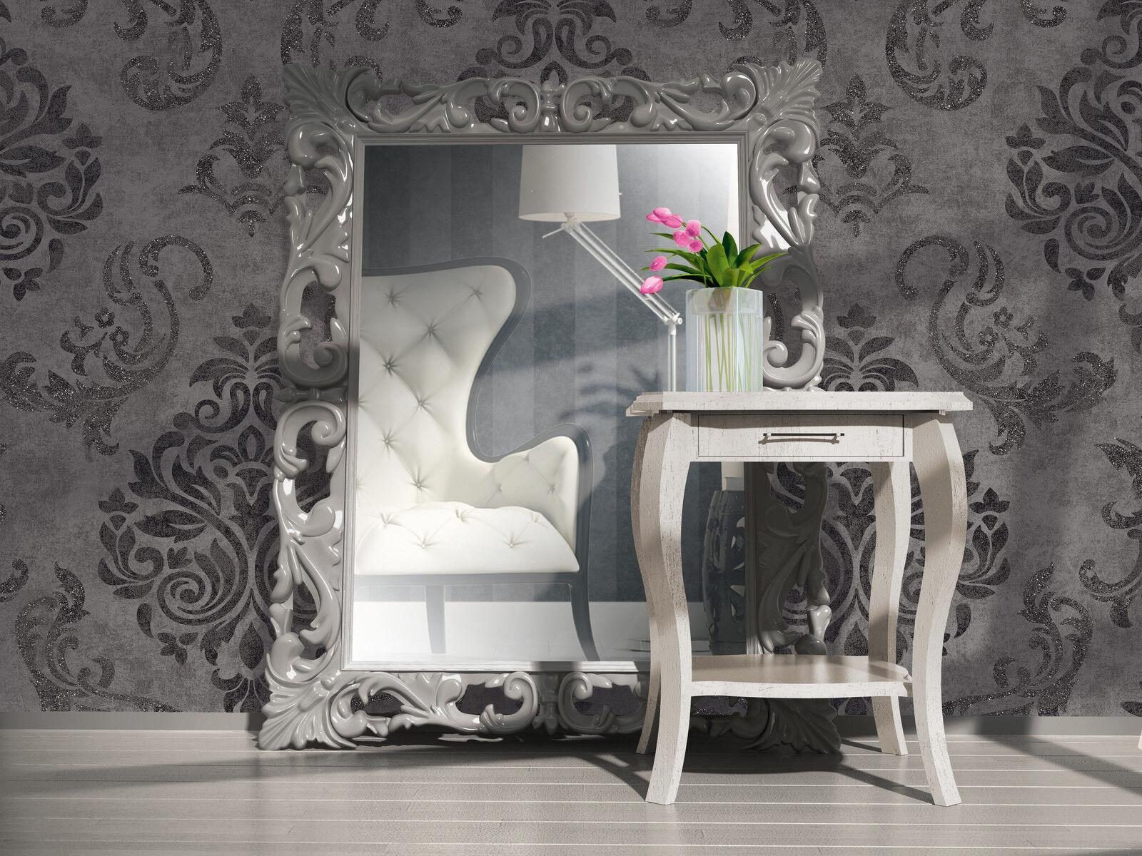 Wundervoll Vlies Tapete Barock Muster Ornament anthrazit grau silber glitzer  GQ04