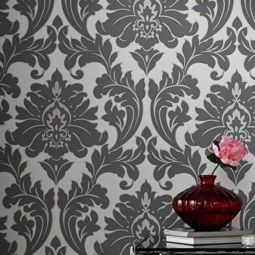 vlies tapete barock muster ornament metallic effekt silber grau klassisch ebay. Black Bedroom Furniture Sets. Home Design Ideas