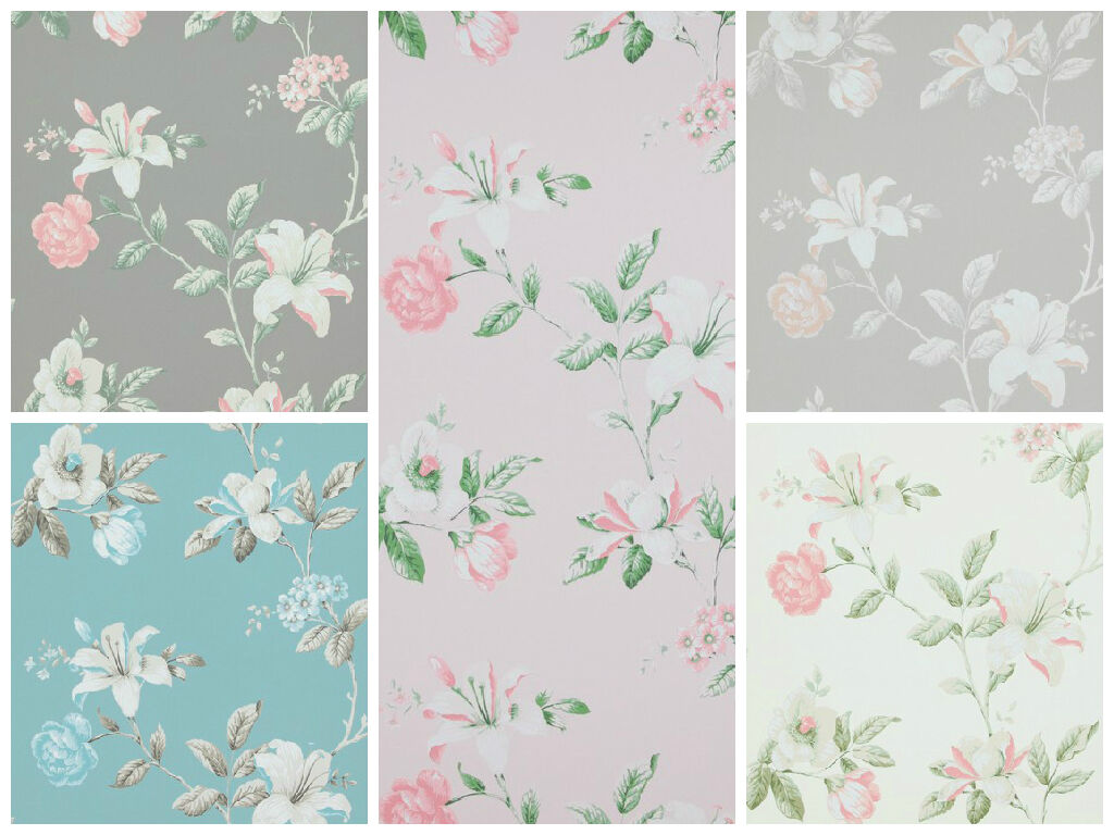 vlies tapete florales blumen muster grau ros creme wei. Black Bedroom Furniture Sets. Home Design Ideas