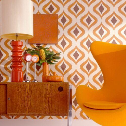 Retro Tapete Orange Braun : Vlies-Tapete-Retro-Muster-70er-Jahre-beige-braun-orange-modern-Graham