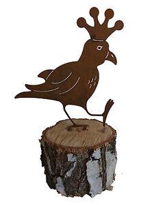 vogel rabe mit krone rostdeko ebay. Black Bedroom Furniture Sets. Home Design Ideas
