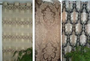 Vorhang dekoschal store mit sen barock stil schwarz braun grau 240 oder 260 cm ebay - Vorhang barock ...