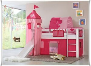 vorhang f r hochbett kinderbett spielbett oder etagenbett 4 teilig princess ebay. Black Bedroom Furniture Sets. Home Design Ideas
