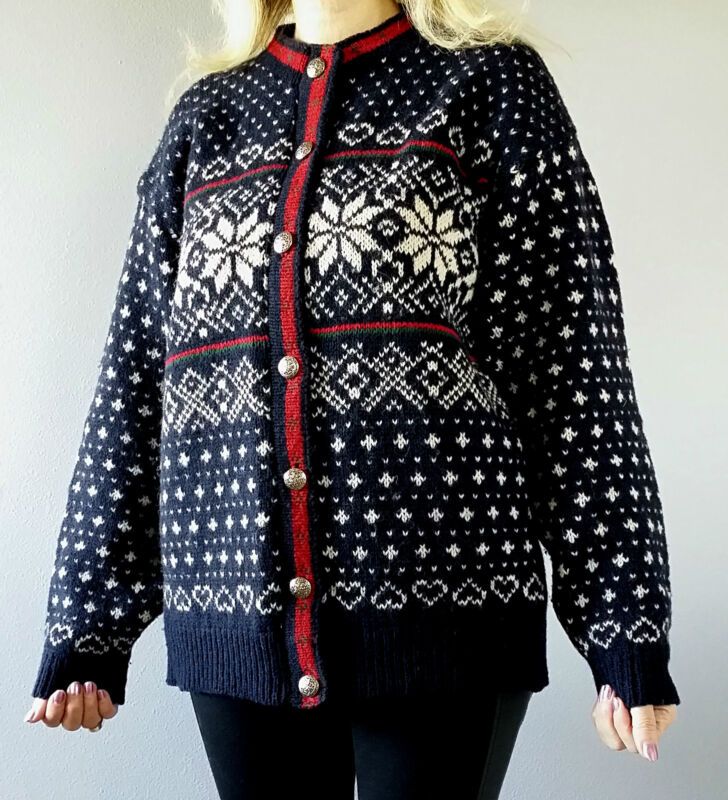 vtg 80s wool knit nordic fair isle boho winter ski cardigan sweater coat jacket ebay. Black Bedroom Furniture Sets. Home Design Ideas