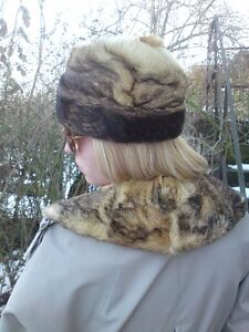 Vtg-Original-60s-Genuine-Prairie-Wolf-Fur-Cossack-Style-Hat-Collar-58cm-Fab