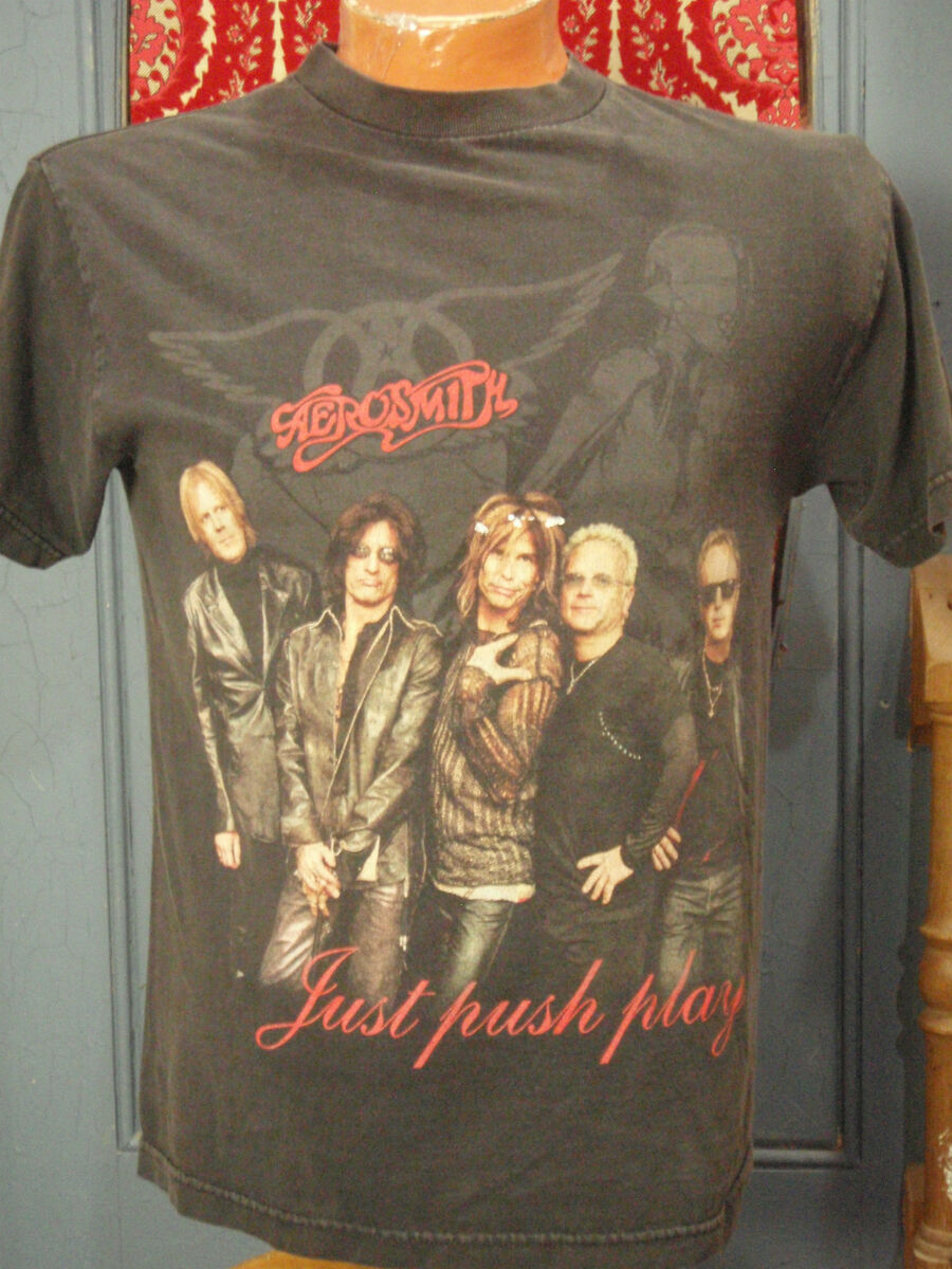 Vtg Rock T Shirt AEROSMITH Just Push Play Tour 2001 Size Medium Black