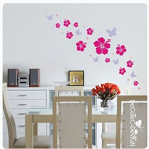 w215 hibiskus blumen schmetterlinge bl ten dots wandtattoo butterfly kreise ebay. Black Bedroom Furniture Sets. Home Design Ideas